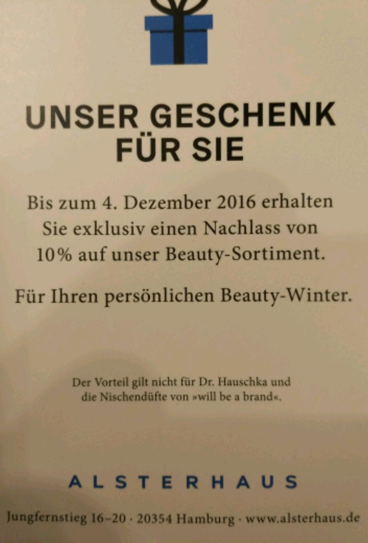 Alsterhaus Hamburg 10% auf das Beauty-Sortiment
