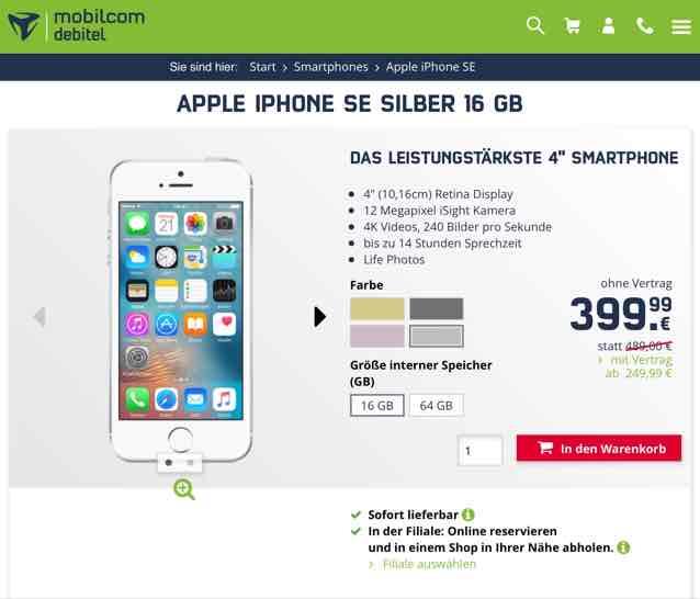 iPhone SE alle Farben 16 GB für 399,99 € ohne Vertrag