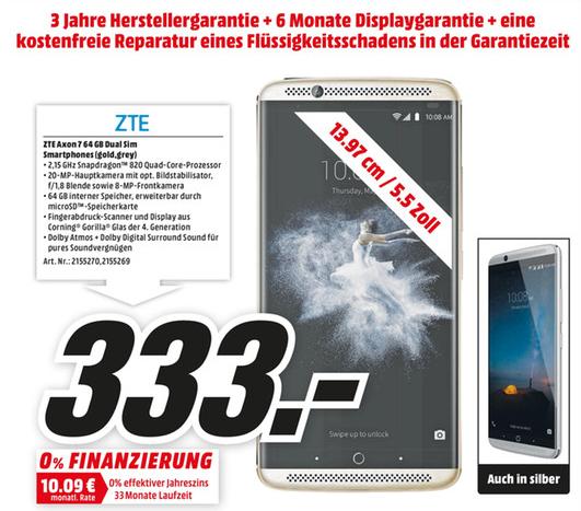 (LOKAL Köln Kalk) ZTE Axon 7 für 333€ inkl. 3 Jahre Garantie und mehr....