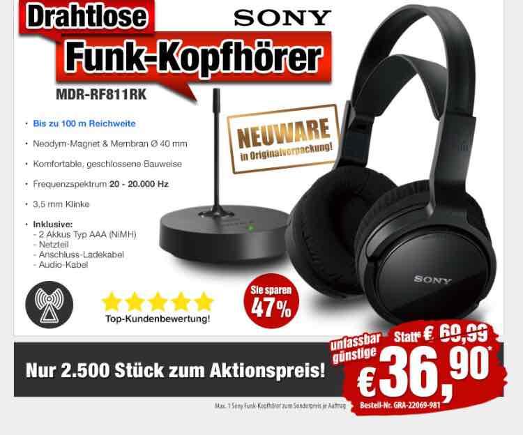 -47%! Nur 36,90 statt 69,99 EUR: HiFi- Funk-Kopfhörer von Sony