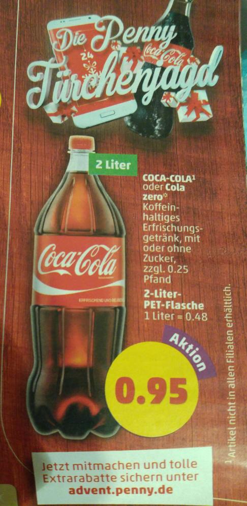 (Penny) ab 28.11.  2 Liter Coca Cola oder CC Zero