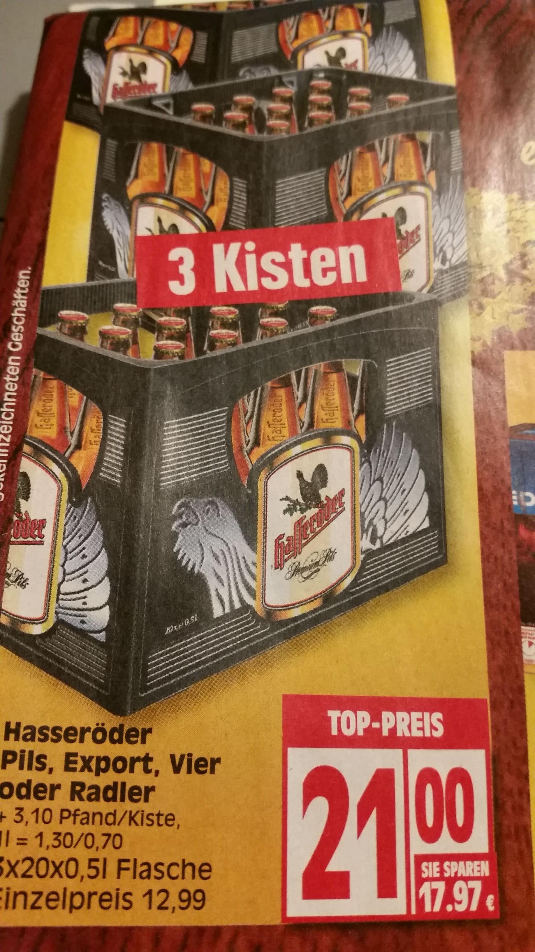 [Lokal?] Edeka 3 Kisten Hasseröder für 21€ = 7€ je Kiste!