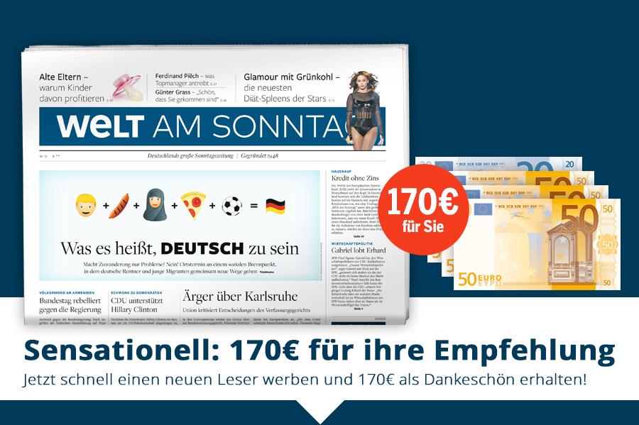 Jahresabo der WELT am Sonntag für effektiv 32,80 Euro
