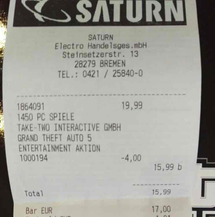 Saturn GTA 5 PC für 15,99€ [Lokal Saturn Bremen]
