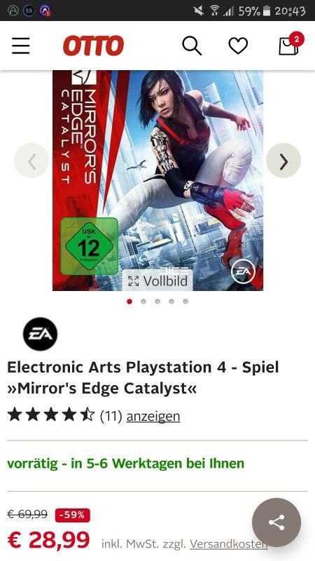 Mirror's Edge Catalyst für PS4 bei Otto für 28,99