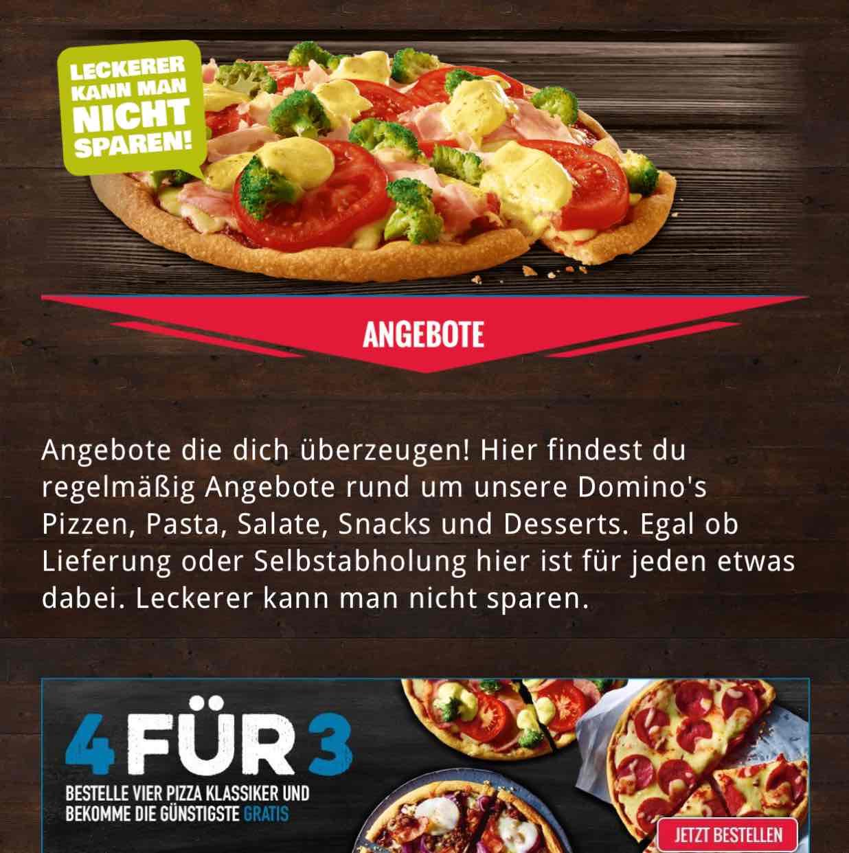 Domino's Pizza 4 Pizzen zum Preis von 3