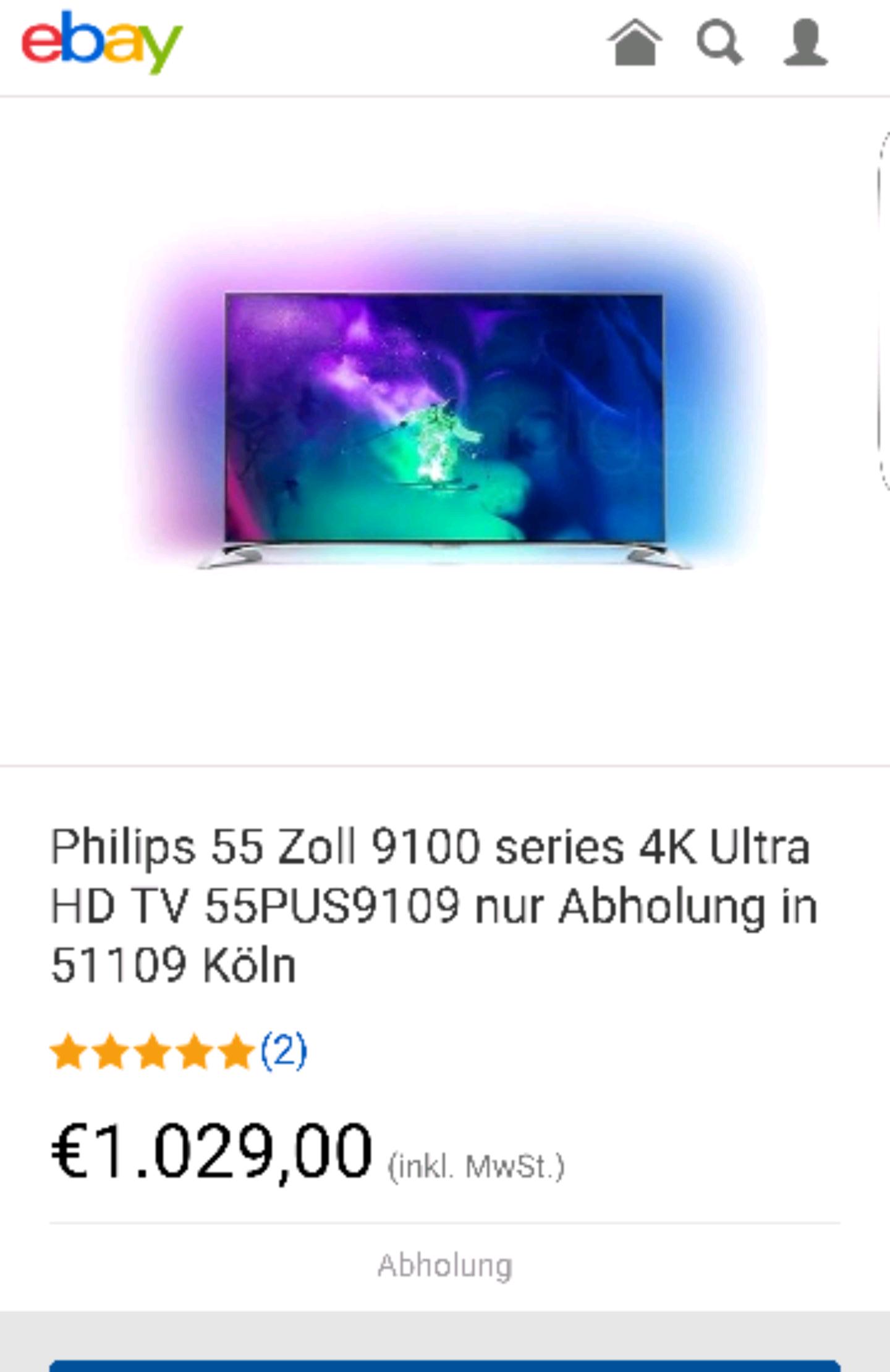 Philips 55 Zoll 9100 Series 4K Ultra HD TV 55PUS9109 mit Abholung in Köln