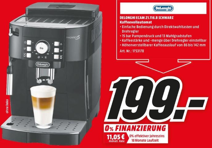 [Neueröffnung MediaMarkt Köln-Kalk] Kaffeevollautomat De'Longhi ECAM 21.116.B Magnifica S schwarz für 199 Euro