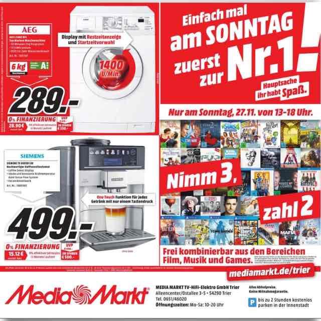 Siemens TE 603501 / Kaffeevollautomat / Lokal im Media Markt Trier