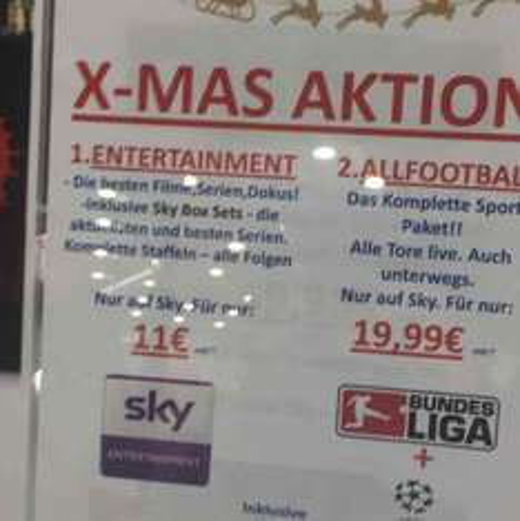 Sky Entertainment für 11 Euro monatlich (Lokal Wuppertal)