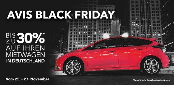 Bis zu 30 % auf Mietwagen im Avis Black Friday Sale  für Zeitraum 1. Januar - 28. Februar 2017.