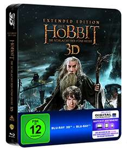 Der Hobbit: Die Schlacht der fünf Heere -  Extended Edition Steelbook (exklusiv bei Amazon.de) [3D Blu-ray] [Limited Edition] für 14,97