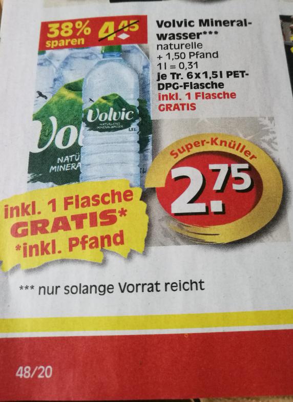 [Vor Ort Reichelt-Berlin] Volvic naturelle Mineralwasser 1,5l PET-Flasche für 0,262 €/L