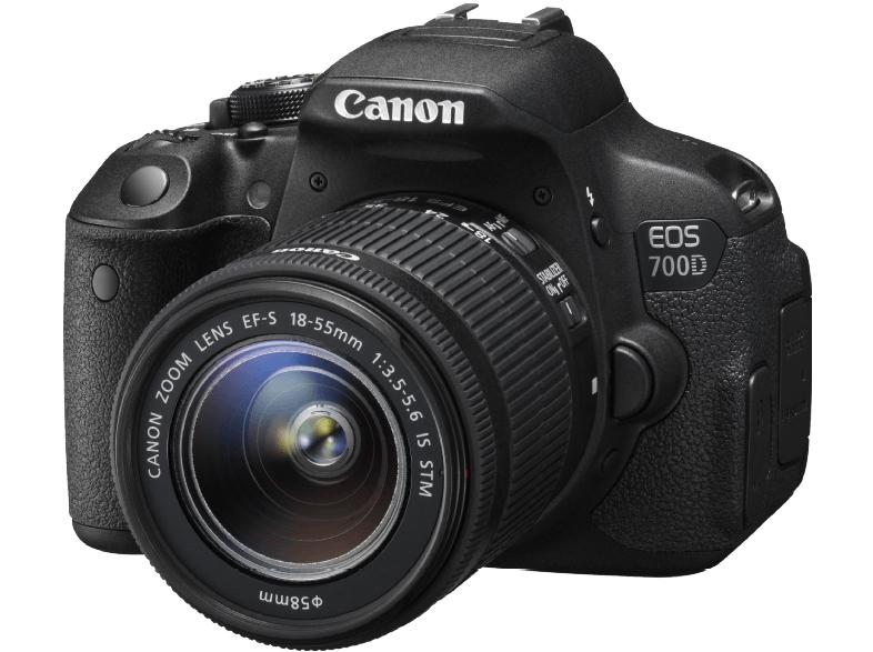 CANON EOS 700D Spiegelreflexkamera, 18 Megapixel, CMOS Sensor, 18-55 mm Objektiv (IS STM das gute), Autofokus, Schwarz SATURN