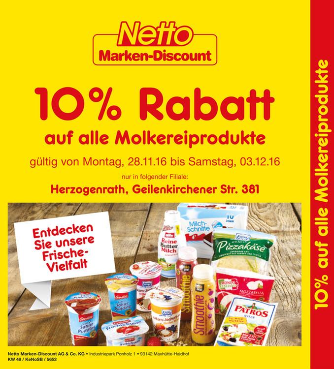 [Lokal Langerwehe (Kreis Düren)] 10 % auf alles bei NETTO Marken-Discount vom 29.11.-03.12.2016