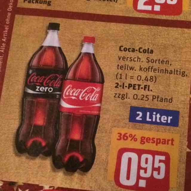 [Rewe] 2 Liter Coca-Cola verschiedene Sorten für 0,95 €