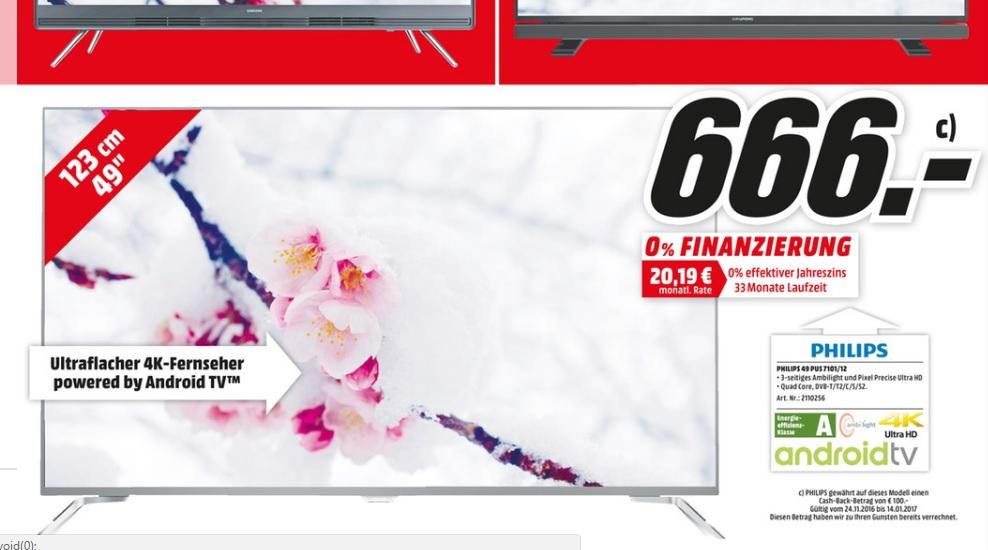 (lokal) Philips 49PUS7101 Ambilight 4K TV für 666€ @ Mediamarkt Köln Kalk