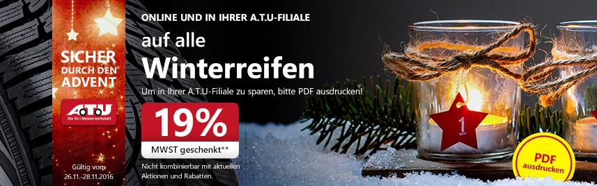 20 % Rabatt auf alle Winterreifen bei A.T.U. - nur heute noch