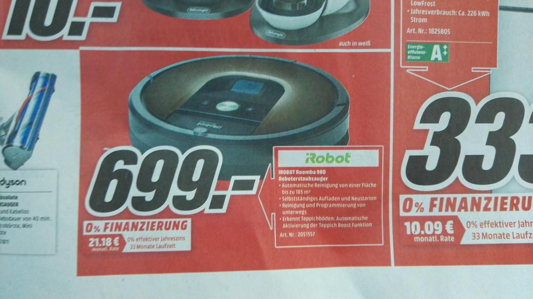 iRobot Roomba 980 (Lokal Mediamarkt Köln Kalk am 28.11.2016)