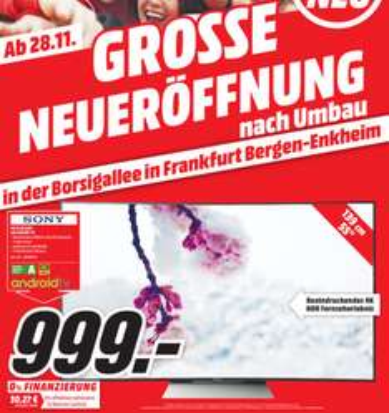 LOKAL Media Markt Borsigallee (Frankfurt - Rhein Main Gebiet) Sony TV KD-55SD8505 Curved 4K HDR 120Hertz für 999€ (Idealo ab 1389€)