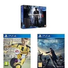 (Amazon.co.uk) PlayStation 4 Slim 500GB + Uncharted 4 + Fifa17 + Final Fantasy XV: Day One Edition für 263,59€