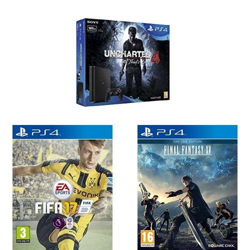 (Amazon.co.uk) PlayStation 4 Slim 500GB + Uncharted 4 + Fifa17 + Final Fantasy XV: Day One Edition für 263,59€