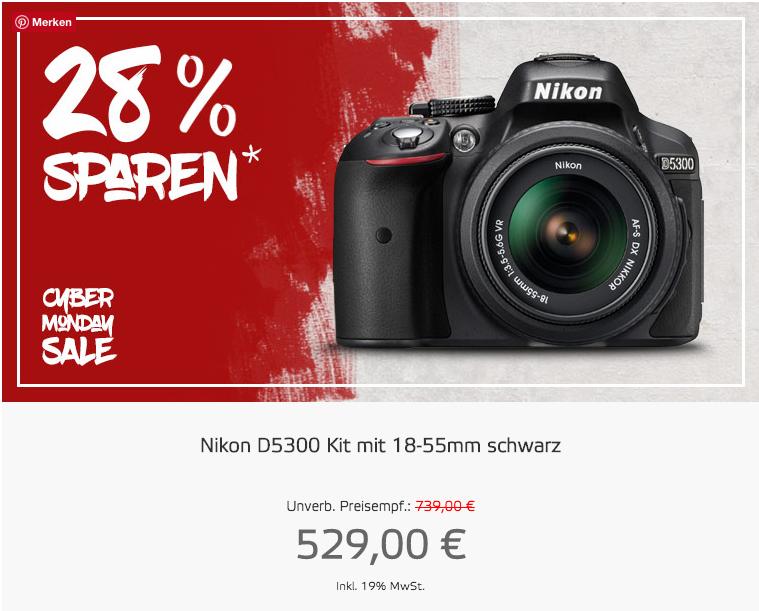 CYBER MONDAY SALE: Nikon D5300 + AF-P DX NIKKOR 18-55 VR