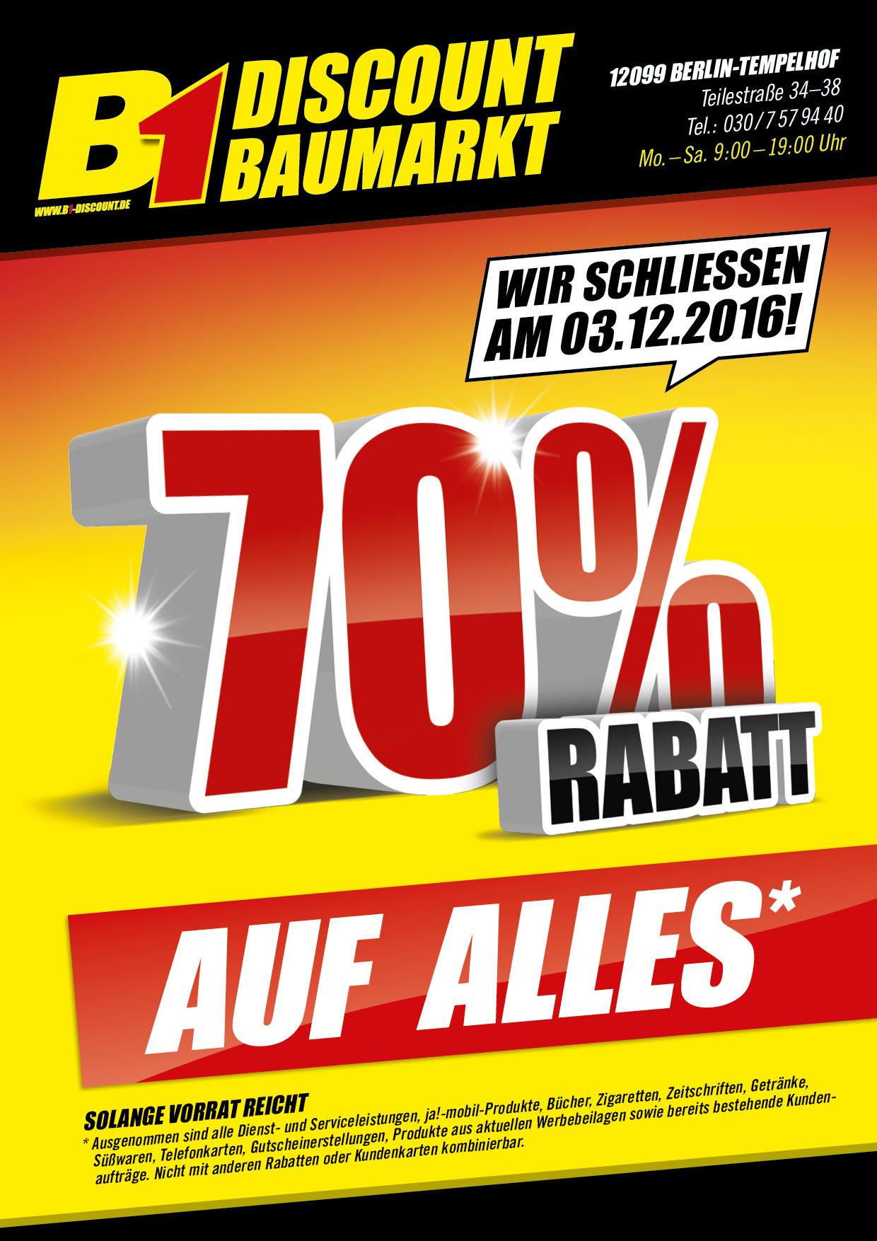 [Lokal] B1 Discount Baumarkt Berlin Teilestr. 70% auf alles