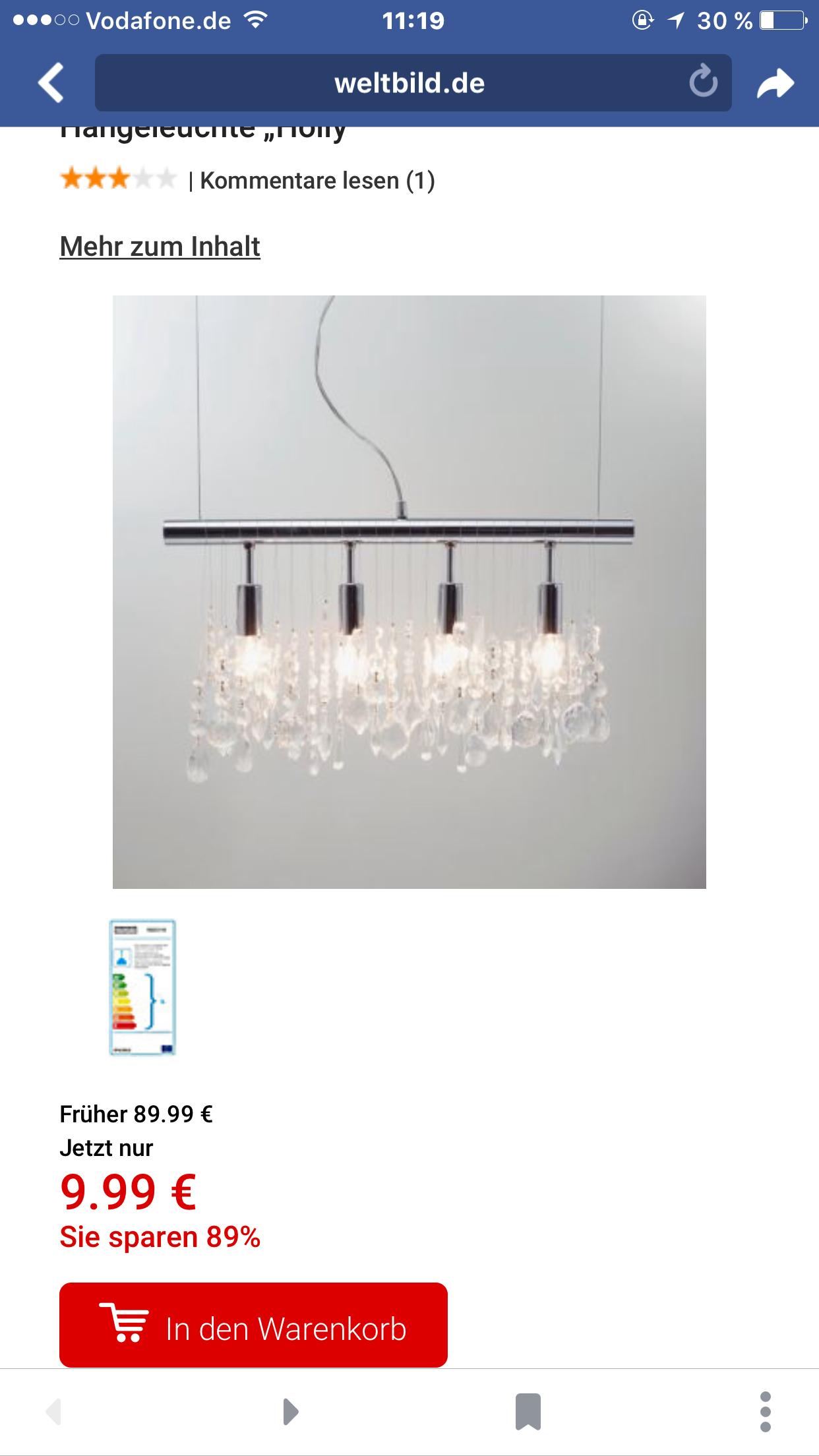 [Weltbild] tolle Lampe 90% reduziert, sogar versandkostenfrei