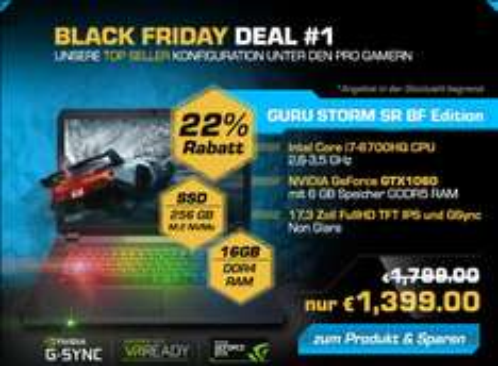 17,3 Zoll IPS GTX1060 mit GSync 256 GB NVMe SSD MultiColour Keyboard BLACK FRIDAY