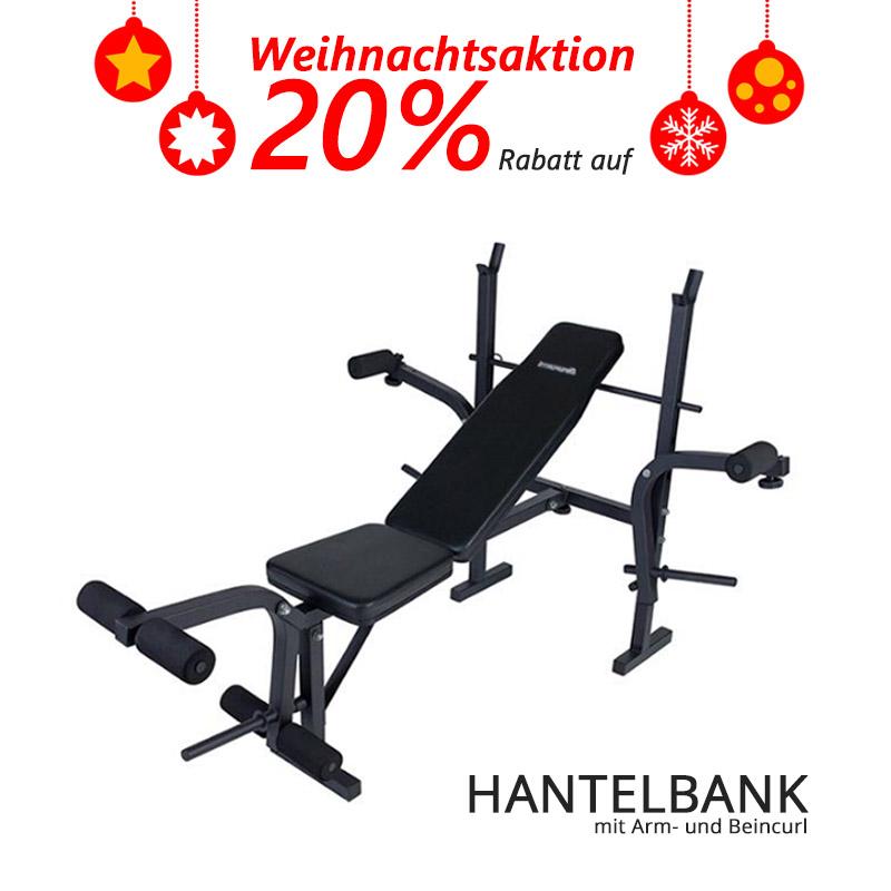 """20% Rabatt auf """"Hantelbank mit Arm- und Beincurl"""" : 71,96 € inkl. Lieferung"""
