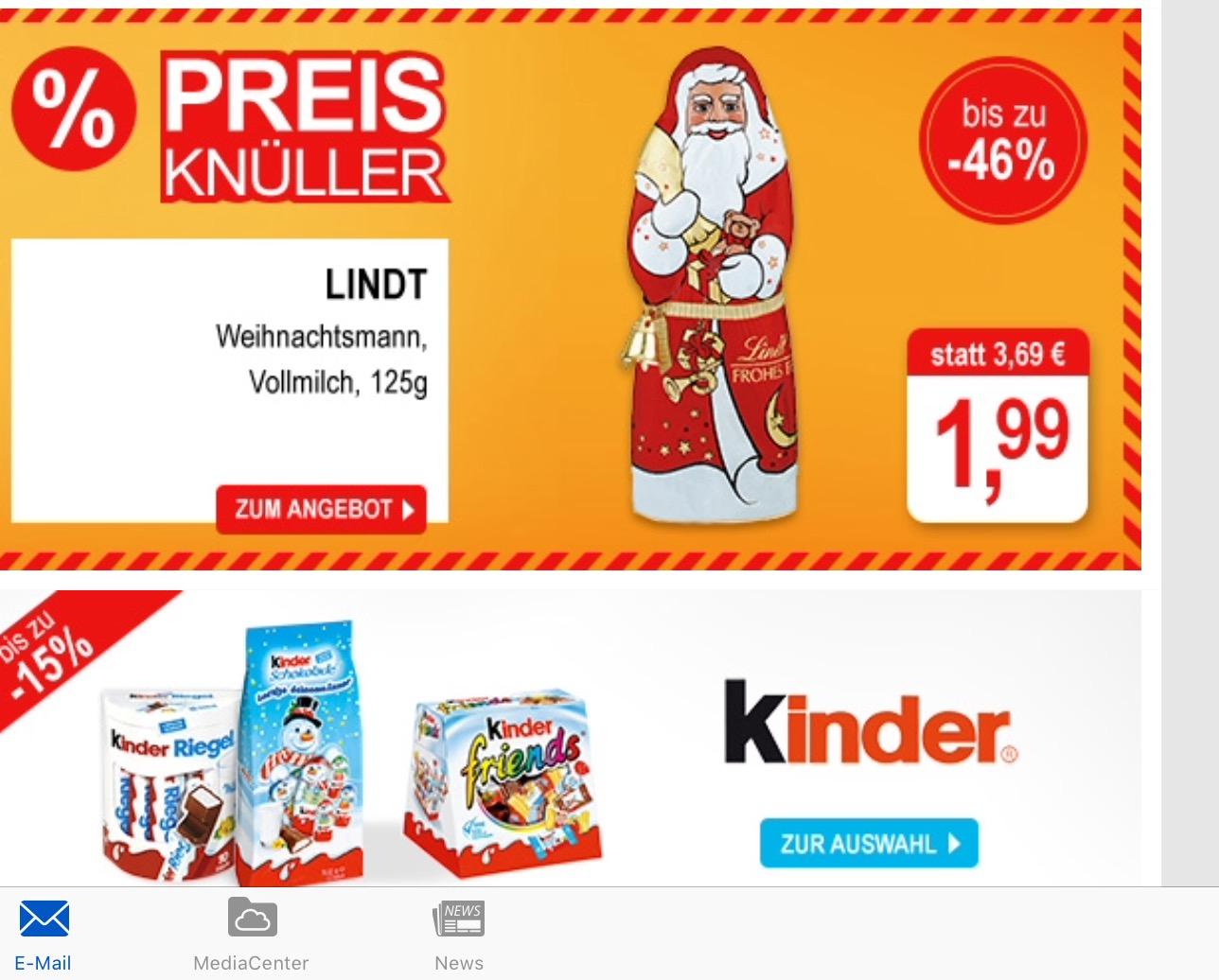 Lindt Weihnachtsmann 125 g Vollmilch durch Angebot und Rabatt bei Allyouneedfresh