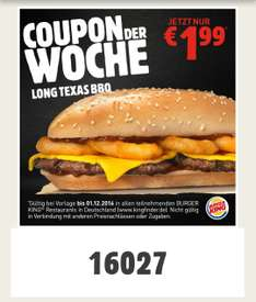 [Burger King App] Long Texas BBQ für 1,99€