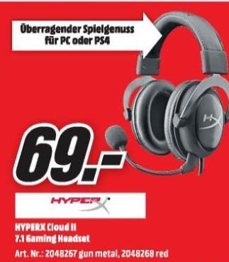 [MediaMarkt/MM] [Amazon] HyperX Cloud II für 69,-  Ab Mittwoch um 20:00 Online, Donnerstag Offline