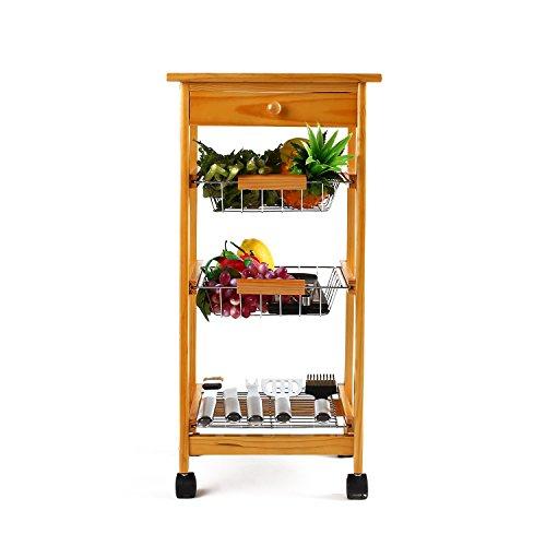 Kleiner Küchenwagen aus Kiefer mit 4 Ablagen (37 x 37 x 75cm??)