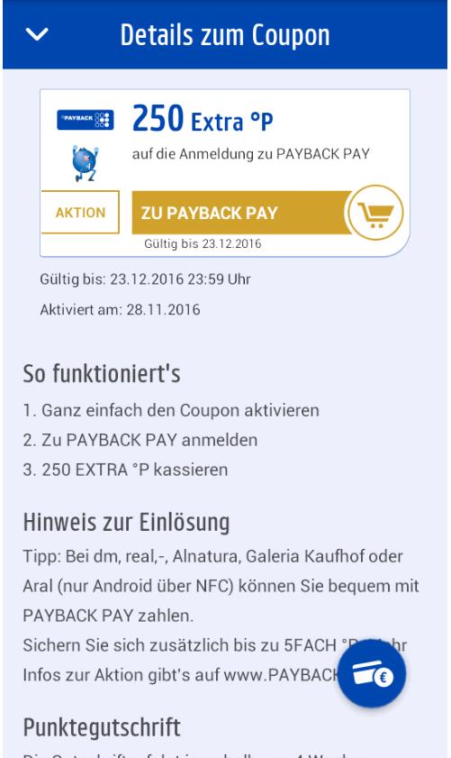 [Payback-App] für Payback Pay anmelden und 250 Punkte bekommen