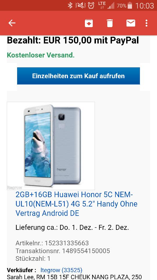 Ebay-Honor 5c für 150Euro