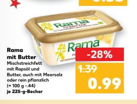 ab 01.12  Rama mit Butter 225g für 0,49€ versch. sorten
