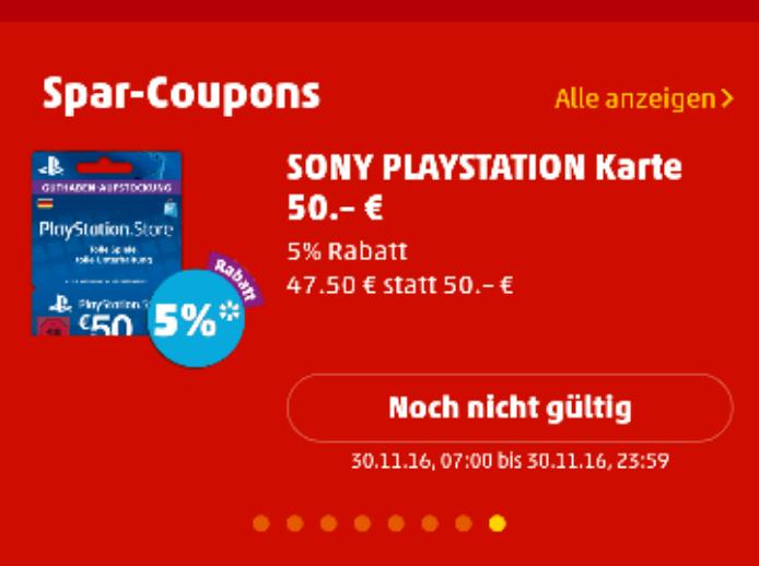 PSN 50€ Guthaben DE für 47,50€ - Penny - App