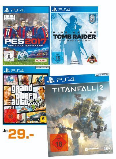 [Lokal Saturn Köln Hansaring] PES 2017 (PS4)**Rise of the Tomb Raider -20 Jahre Edition (PS4)** GTA 5 (PS4 und Xbox One)**Titanfall 2 (PS4 und Xbox One) für je 29,-€ Zusätzlich Assassin's Creed: Syndicate - Special Edition(PS4 und XB1) für je 19,-€