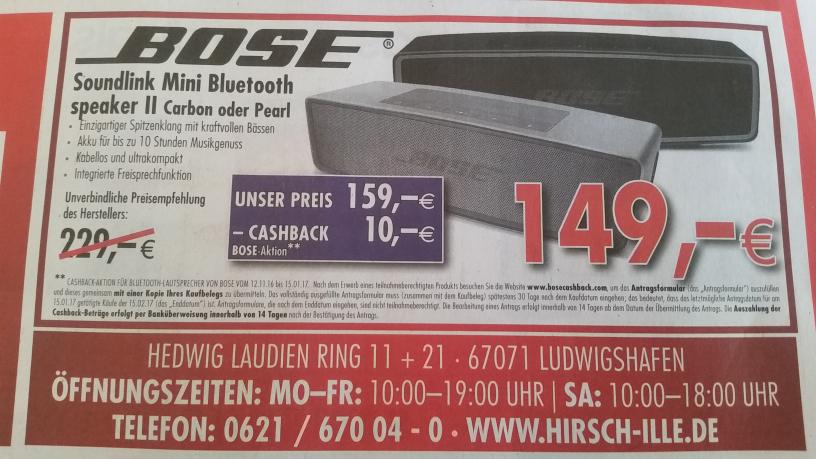 Bose Soundlink Mini 2 bei Hirsch&Ille Ludwigshafen (Lokal)