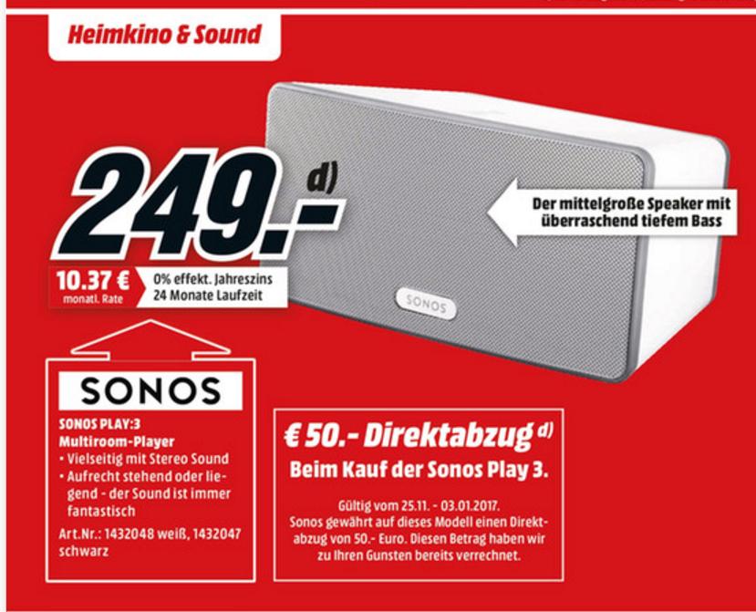 [lokal - ab 1.12] Sonos Play:3 in weiß und schwarz für 249€ im Mediamarkt Karlsruhe