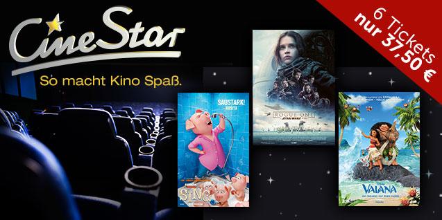 Kinogutscheine fürs CineStar – 6 X Einzeltickets: 37,50 € statt 75,00 €