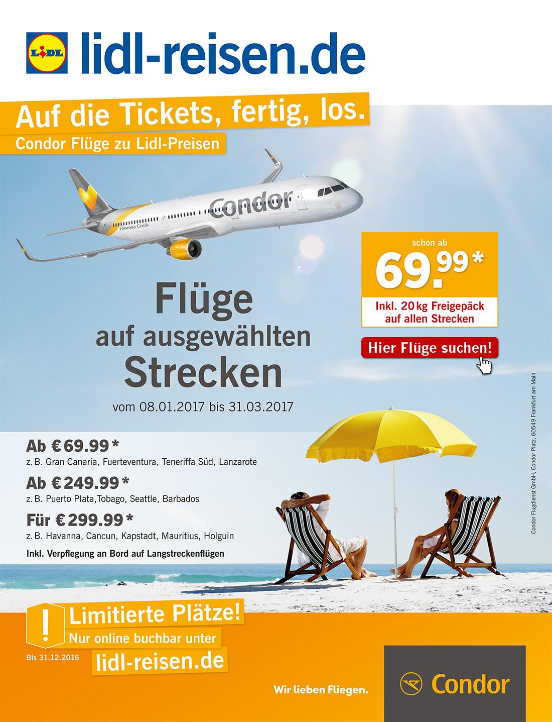 CONDOR-Flugangebote bei Lidl-Reisen ab 69,99