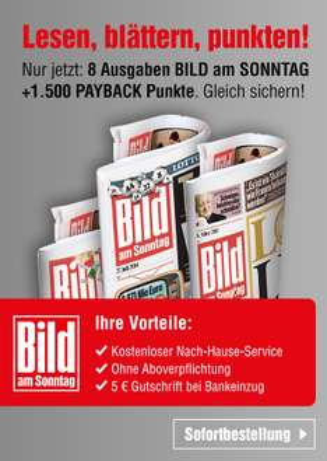 [Payback] Bild am Sonntag 8 Ausgaben + 1.500 Paybackpunkte (4,40 EUR Gewinn bei Bankeinzug)