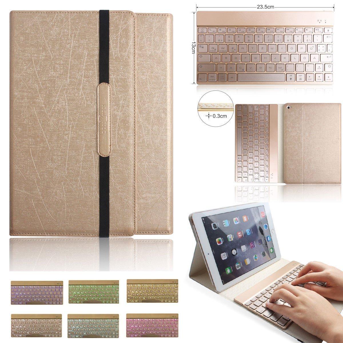 Amazon: Ipad Pro 9.7 Bluetooth Leder Hülle Case mit Tastatur (Farbe: gold) für 43,99€