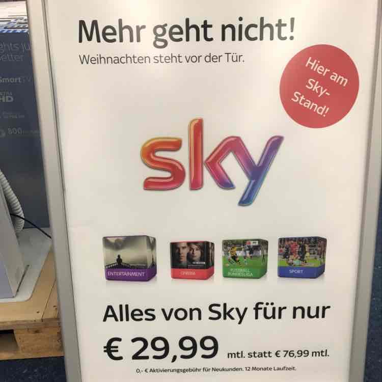 Sky All-in Entairtainment+ Cinema+Sport+Bundeslige und HD 29,99€ ohne Aktivierungsgebühr(Saturn/Mediamarkt)
