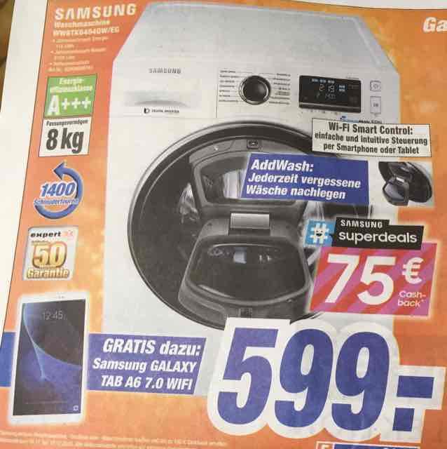 (Lokal expert) Wi-Fi Waschmaschine Samsung WW8TK6404QW/EG für 599 € - 75 € Cashback + Galaxy Tab A6 7.0 Wifi