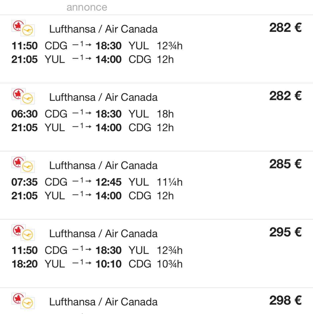 Lufthansa Paris nach Montreal oder Quebec für €284!