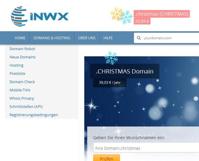(Domains) INWX 1. Kalendertürchen: .christmas-Domain für 25,99/Jahr statt 39,03 Euro